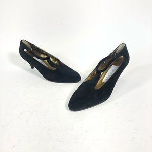 Vintage Joan & David velvet 80's black heels pumps